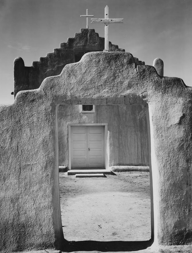 Church inTaos Pueblo New Mexico by Ansel Adams.jpg